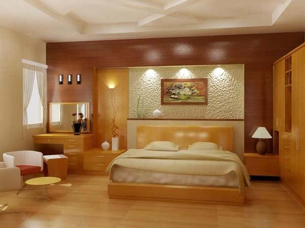 Phòng ngủ ốp gỗ Veneer