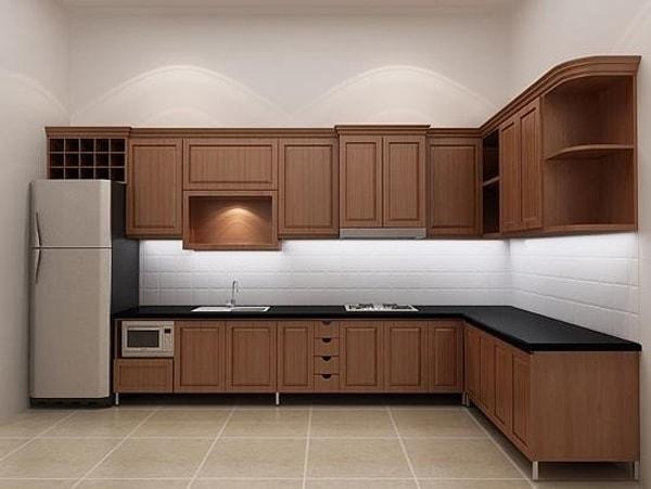 Nội thất gỗ Veneer óc chó cho phòng bếp sang trọng