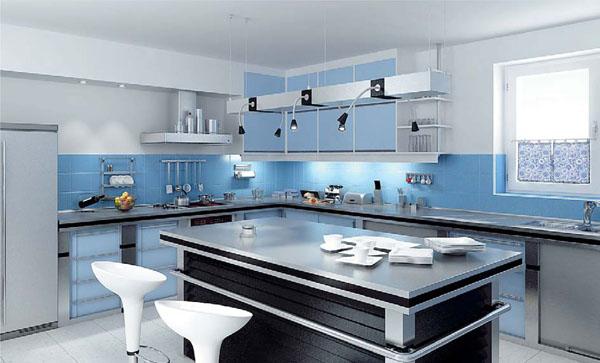 Gia chủ mệnh mộc nên chọn tủ bếp có màu từ xanh dương, xanh ngọc đến xanh lá cây