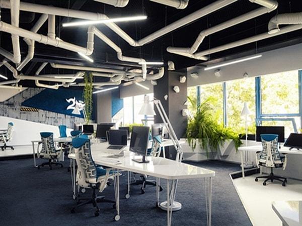 Thiết kế ánh sáng và phân chia không gian văn phòng hài hòa