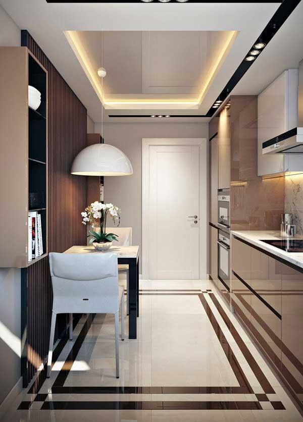 Phòng bếp nhỏ ấn tượng với nội thất bằng chất liệu bóng