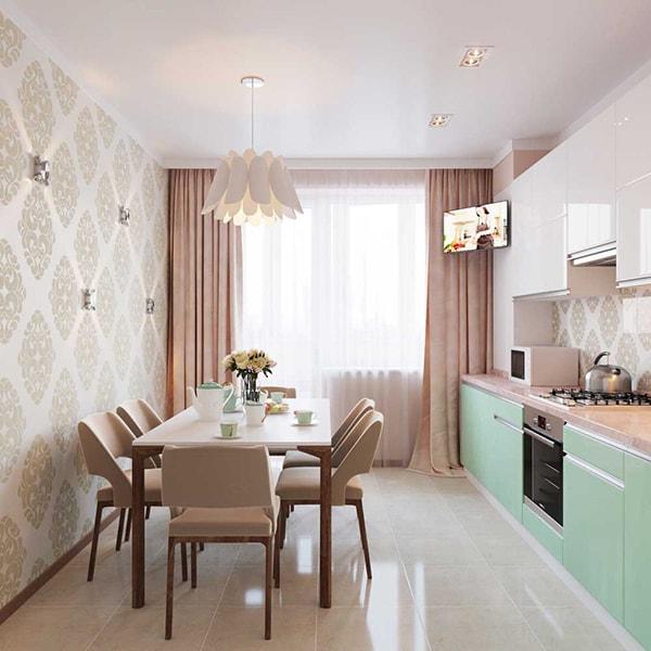 Căn bếp thanh nhã với tủ bếp màu ngọc bích
