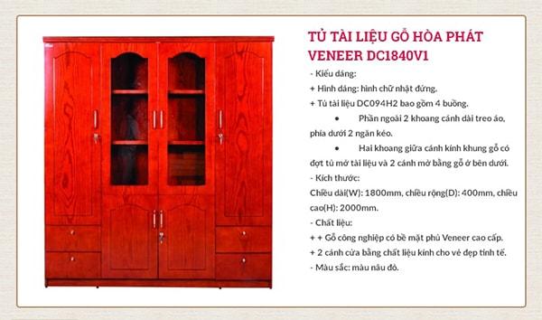Tủ tài liệu gỗ Hòa Phát Veneer DC1840V1