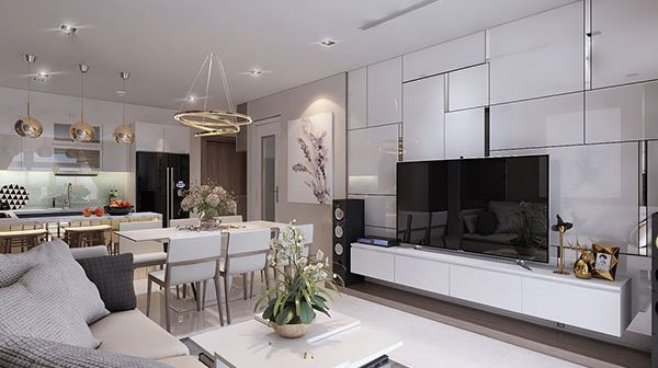 bố trí căn hộ chung cư 80m2