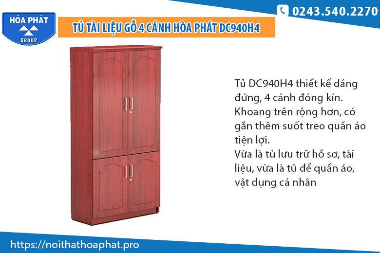 Tủ tài liệu gỗ 4 cánhDC940H4